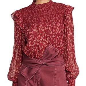 NWT Free People Roma Blouse Red
